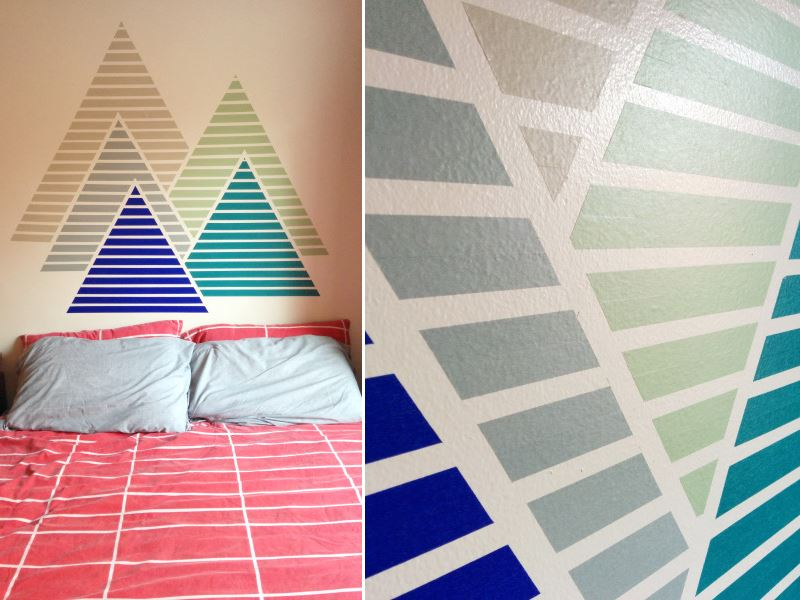 Mountain-pattern washi tape wall from The Paper Place  Easy Wall Decorating Ideas for Renters Mountain pattern washi tape wall from The Paper Place
