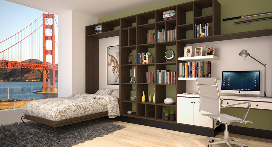 Murphy Bed Folded Down with View of Golden Gate Bridge 8 Versatile Murphy Beds That Turn Any Room into a Spare Bedroom