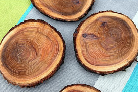 Natural Wood Coasters  8 DIY Father's Day Gifts to Make for Dear Old Dad Natural Wood Coasters