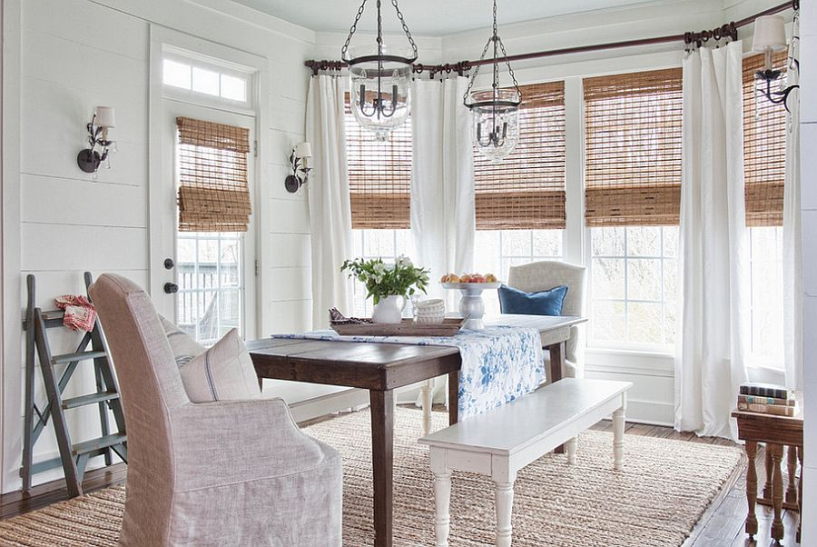 Natural woven wooden shades in the chic farmhouse dining room [Design: Milk & Honey Home Design / Renew Properties]