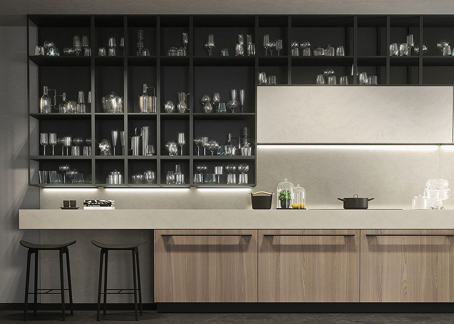 Neutral color palette of the Opera kitchen in black and gray