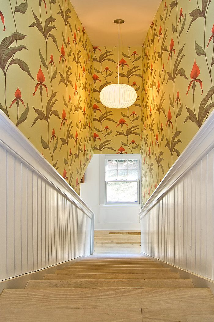 Orchid wallpaper turns the stairway into a delightful setting [Design: Benco Construction]