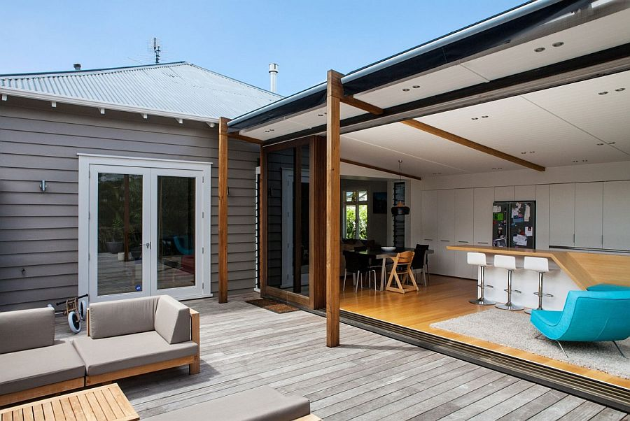 Outdoor deck space of the Auckland home extends the living area of the interior
