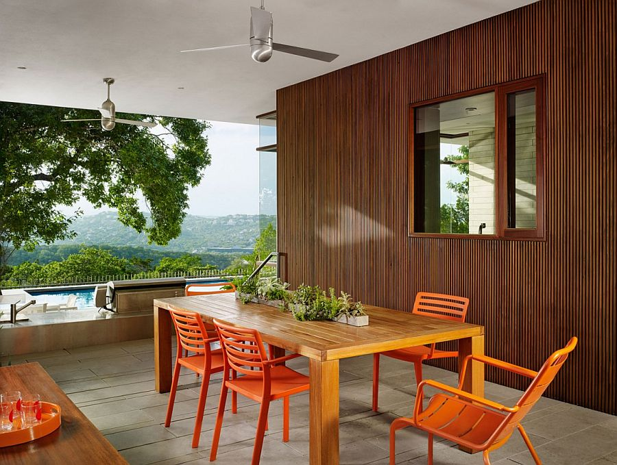 Outdoor dining space overlooking the vast Bright Leaf preserve