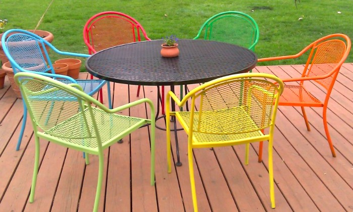 Colored Wood Patio Furniture 10 new ways to think about wrought iron for the garden or patio