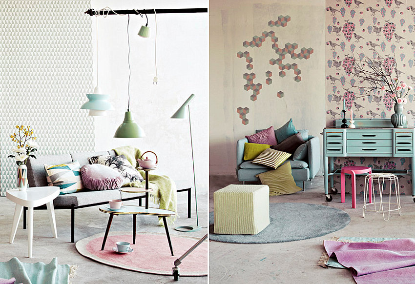 Pastel and grey color palette from Kotivinkki