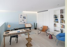 Pastel blue in the stylish Scandinavian home office