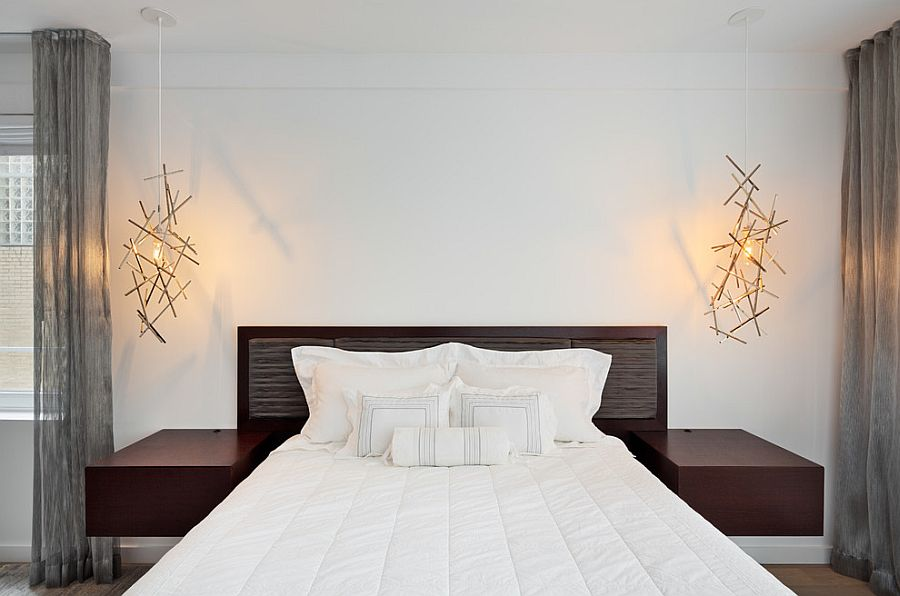 Pendant lights add sculptural style to the trendy bedroom [Design: BuiltIN studio]
