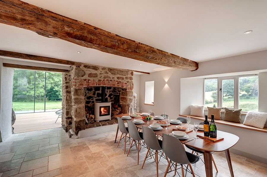 Perfect fireplace for the farmhouse style interior [Design: Van Ellen + Sheryn Architects]