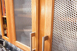 Perforated Steel Kitchen Cabinet Inserts  8 Low-Cost DIY Ways to Give Your Kitchen Cabinets a Makeover Perforated Steel Kitchen Cabinet Inserts 270x180