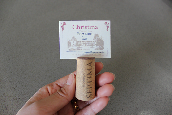 Placecard Holder for Wine Party