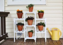 Plant shelf on a front porch