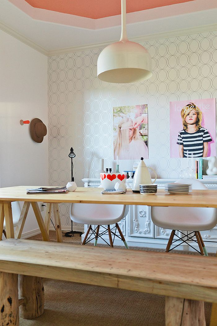 Posh home office with a feminine vibe and Scandinavian style [Design: Simply Grove]