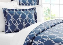 Pottery Barn Organic Bedding Blue Rope Pattern Pillows