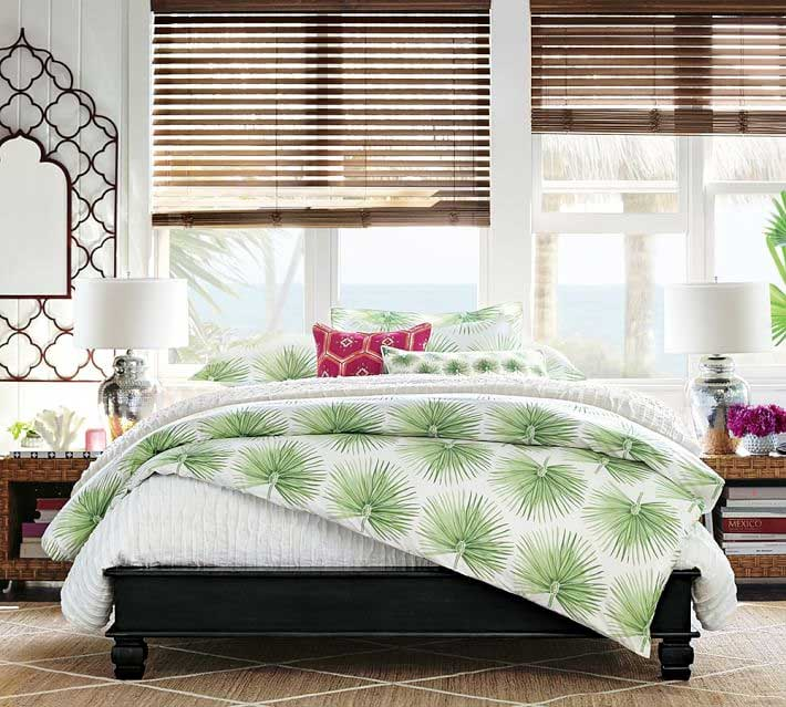 Pottery Barn Organic Bedding Green Palm Design