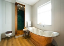 Powder room with a patterned stool
