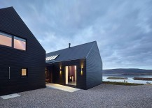 Private courtyard between the large structures shields the owners from gusty winds