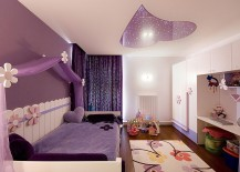 Purple bedroom with a ceiling light that ends up being the showstopper!