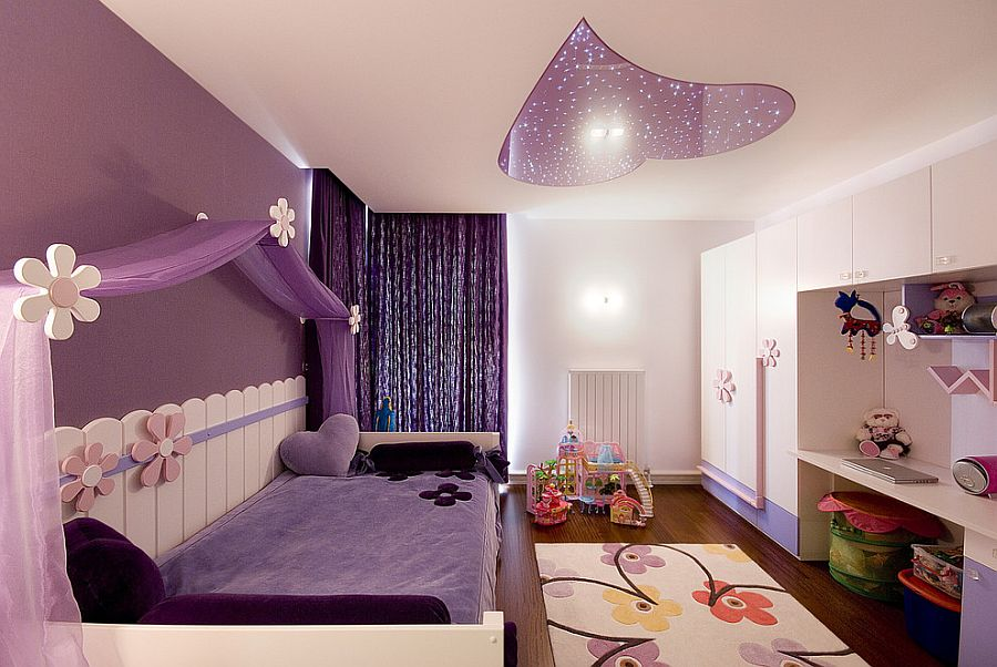 Purple bedroom with a ceiling light that ends up being the showstopper! [Design: Koray Yavuzer]
