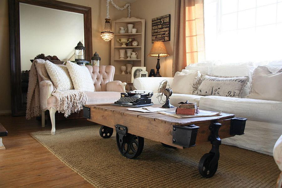Reclaimed factory cart turned into a fabulous coffee table with industrial style [From: The Old Painted Cottage]