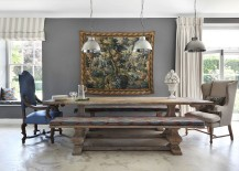 Replace the traditional chairs with wooden benches in the dining room 217x155 30 Unassumingly Chic Farmhouse Style Dining Rooms