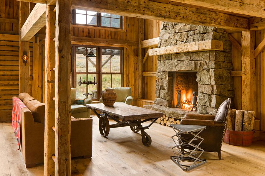 Rustic living room with a mobile coffee table [Design: Miller Architects]