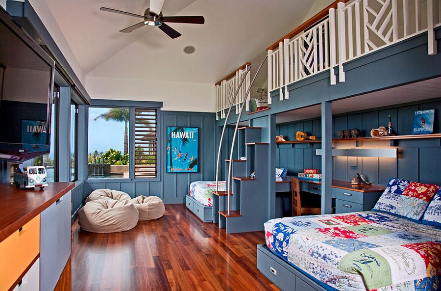 Shared kids' bedroom with a relaxing tropical style [Design: De Jesus Architecture & Design]