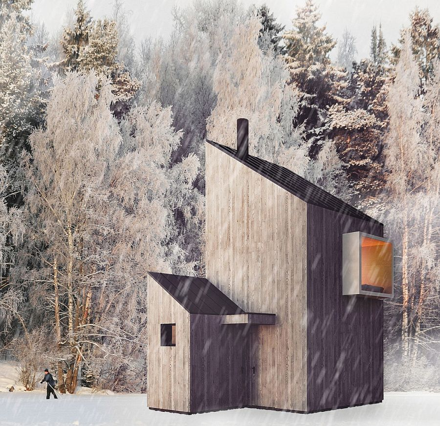 Modern minimalism meets wooden warmth inside small winter for Minimalist cabin design