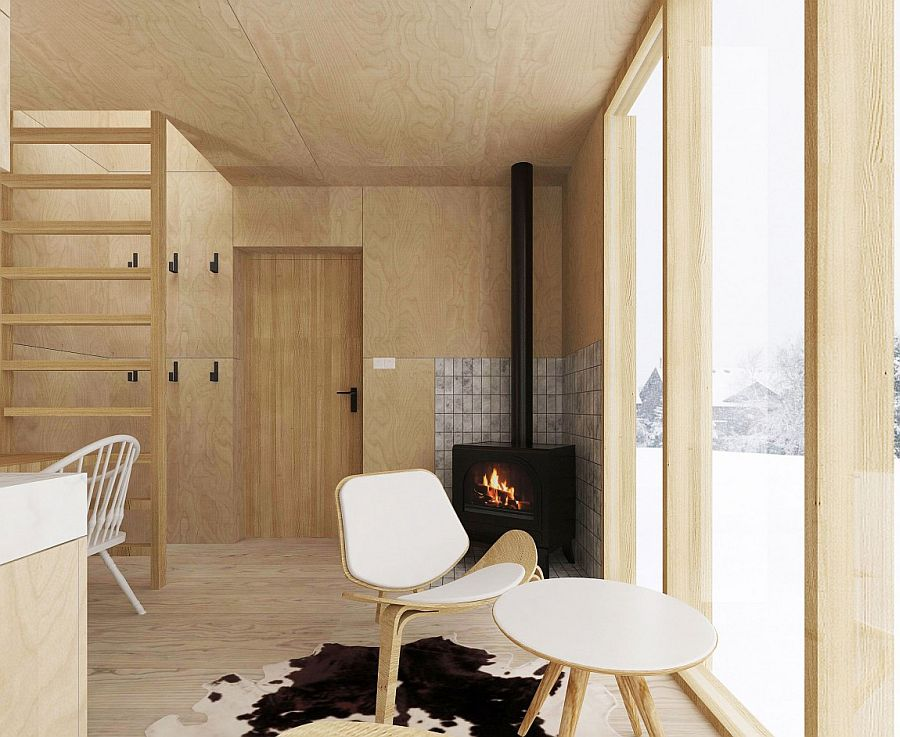 Modern Minimalism Meets Wooden Warmth Inside Small Winter