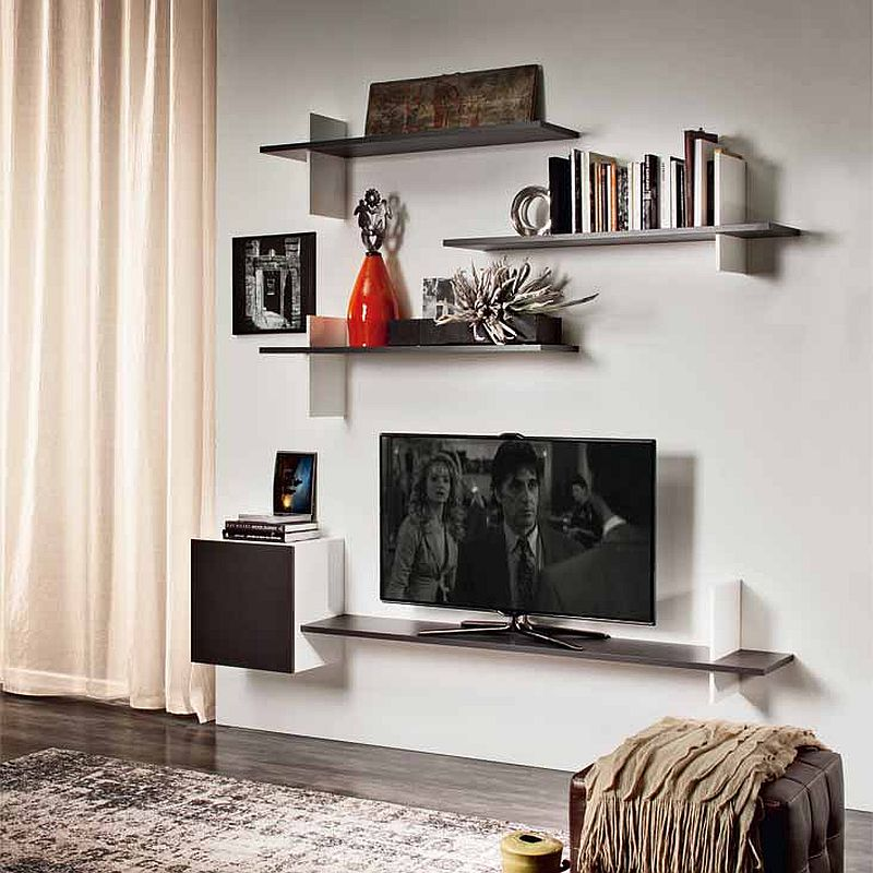 Sleek modern floating bookshelves designed by Philip Jackson
