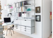 Sliding doors seperate thehome office from the living area