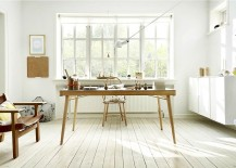 Slim, minimal wooden desk steals the show in this Scandinavian room