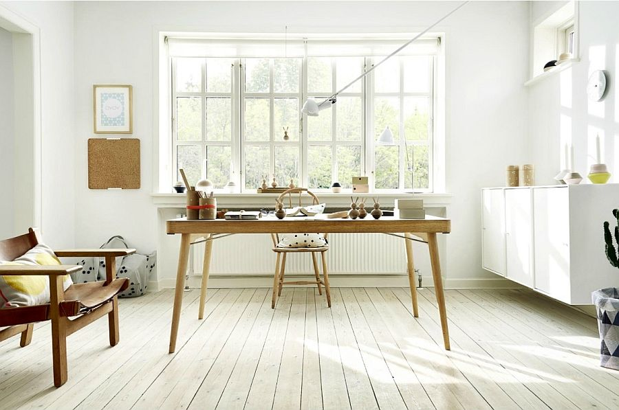 View In Gallery Slim, Minimal Wooden Desk Steals The Show In This  Scandinavian Room