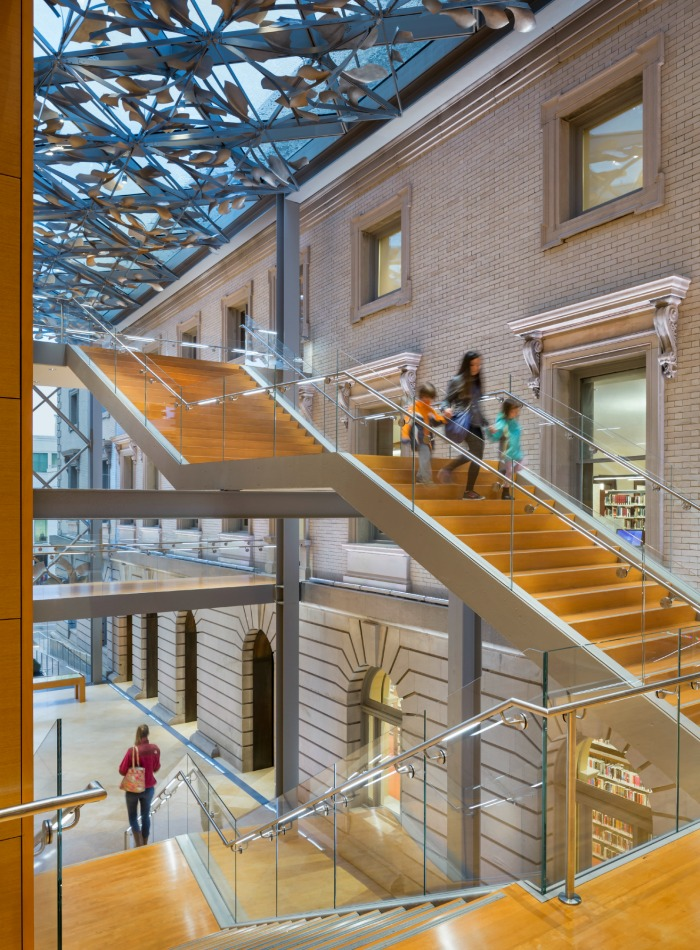A beautiful and modern joining of the old and new buildings of the Slover library