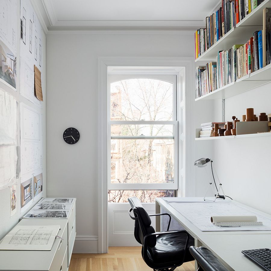 Small and narrow home office & study design with Scandinavian style [Design: Buck Projects]