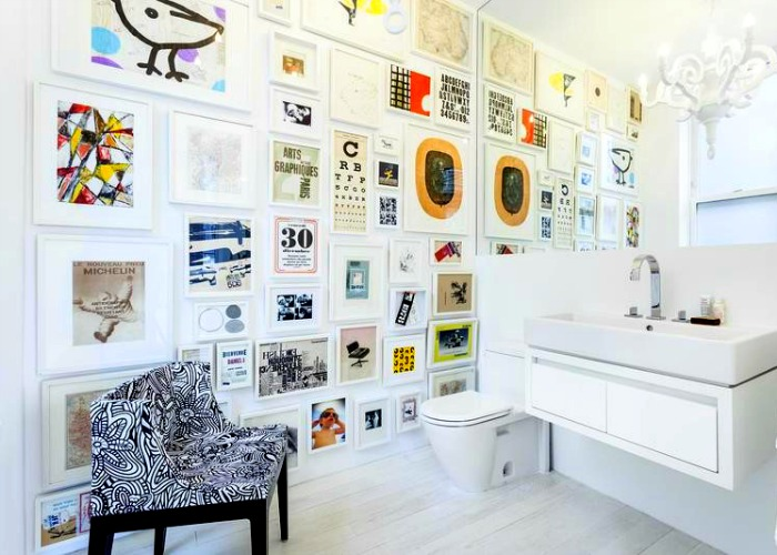 Color was taken into consideration in the arrangement of the art in this room