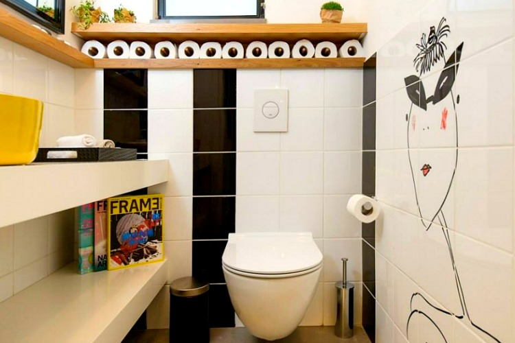 The mural makes this bathroom modern in an instant
