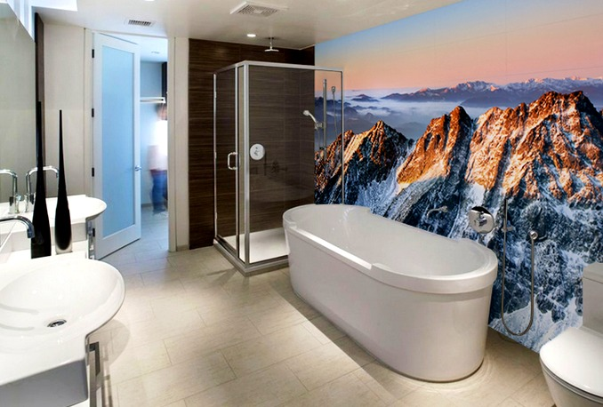 Mountains in the bathroom bring contrast and fun