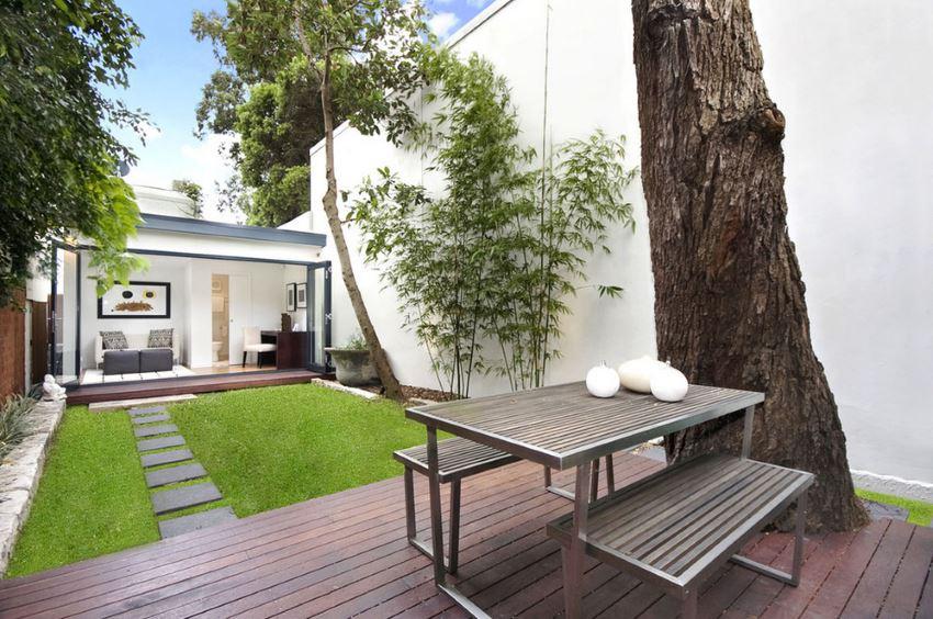 Small green lawn in a modern yard