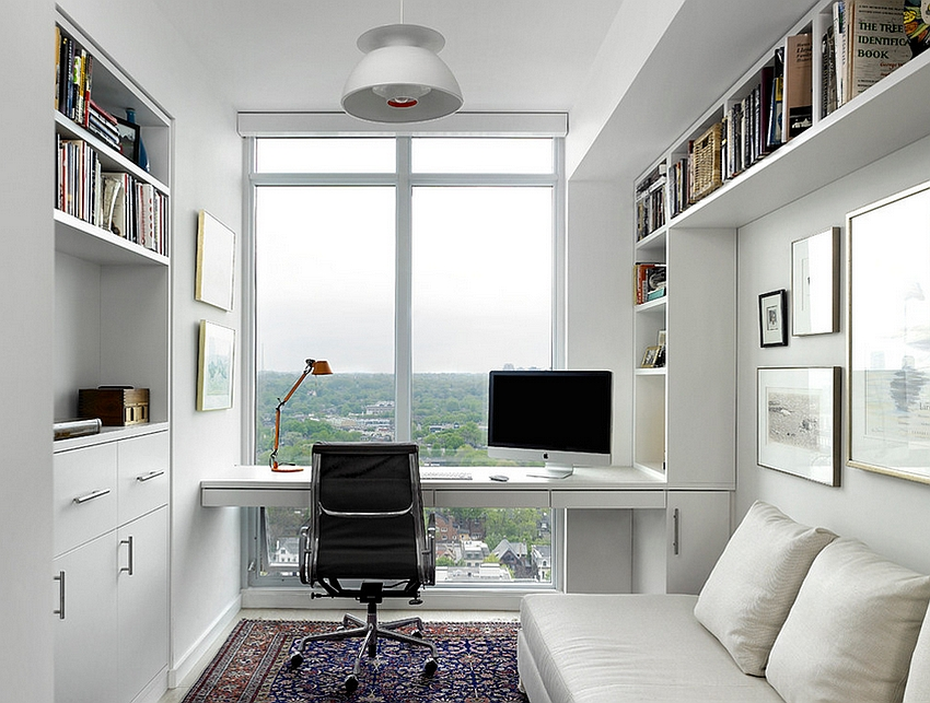 Smart Scandinavian Modern home office with a lovely view [Design: Jill Greaves Design / Box wood Architects]