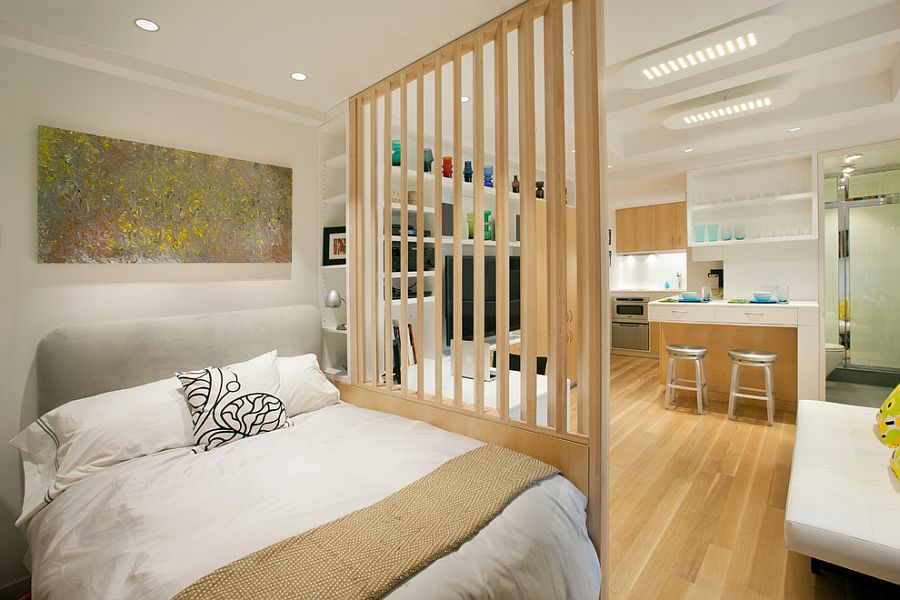 Smart Scandinavian bedroom of micro apartment in New York City [Design: Allen+Killcoyne Architects]