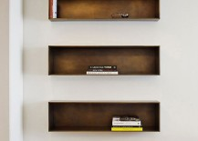 Smart box-like shelves give the interior a modernminimal look
