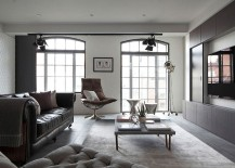 Smart lighting and wall mounted entertainment unit in the living room 217x155 Chic Loft Apartment in London Adds Feminine Beauty to an Industrial Setting