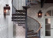 Space-saving-spiral-staircase-with-a-backdrop-draped-in-wallpaper-217x155