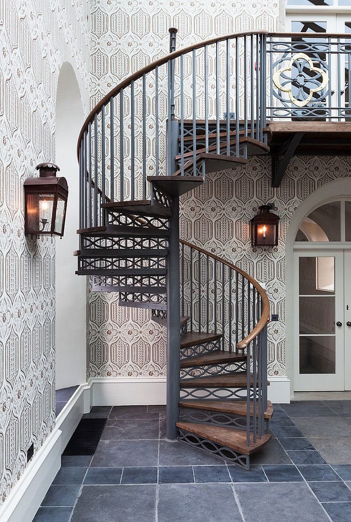 Space Saving Spiral Staircase With A Backdrop Draped In Wallpaper Design GLM Ltd