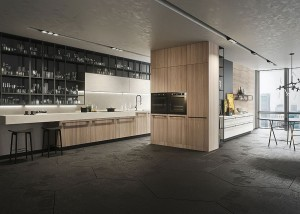 Spacious and elegant Opera kitchen complements the style of the living room