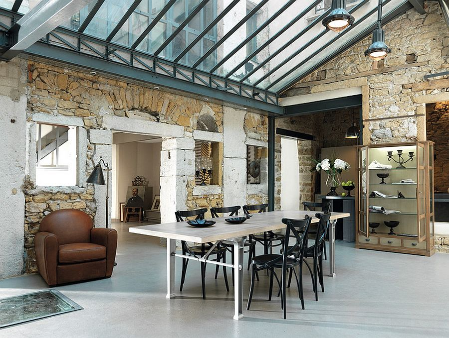 spacious dining room combines industrial and farmhouse styles