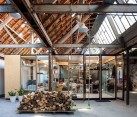 Sparkling glass home office inside renovated textile factory