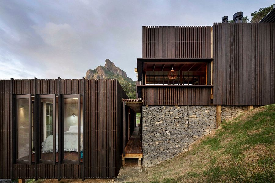 Stone and wood shape the stylish New Zealand holiday home