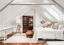 Stunning attic bedroom with glass walls